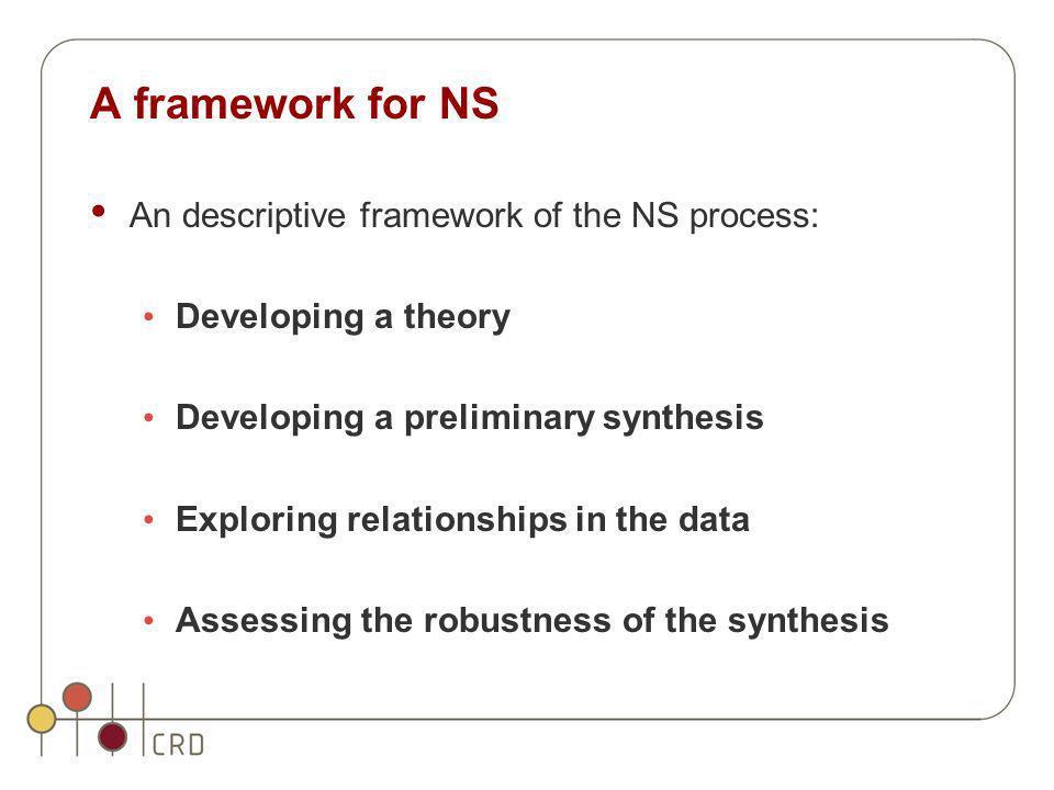 A framework for NS An descriptive framework of the NS process: