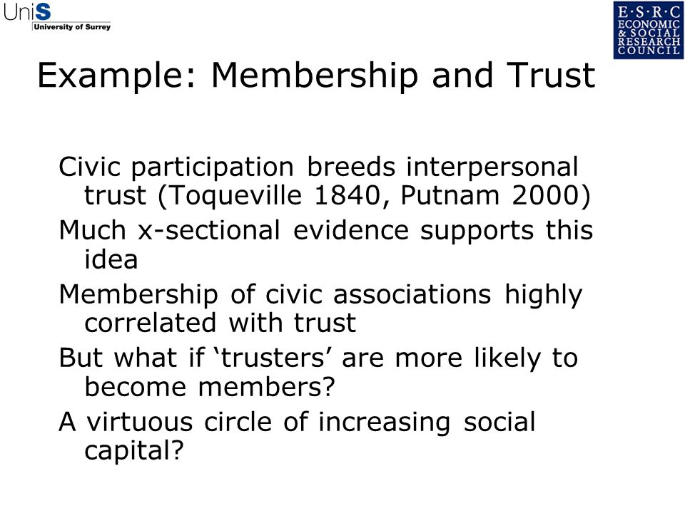 Example: Membership and Trust