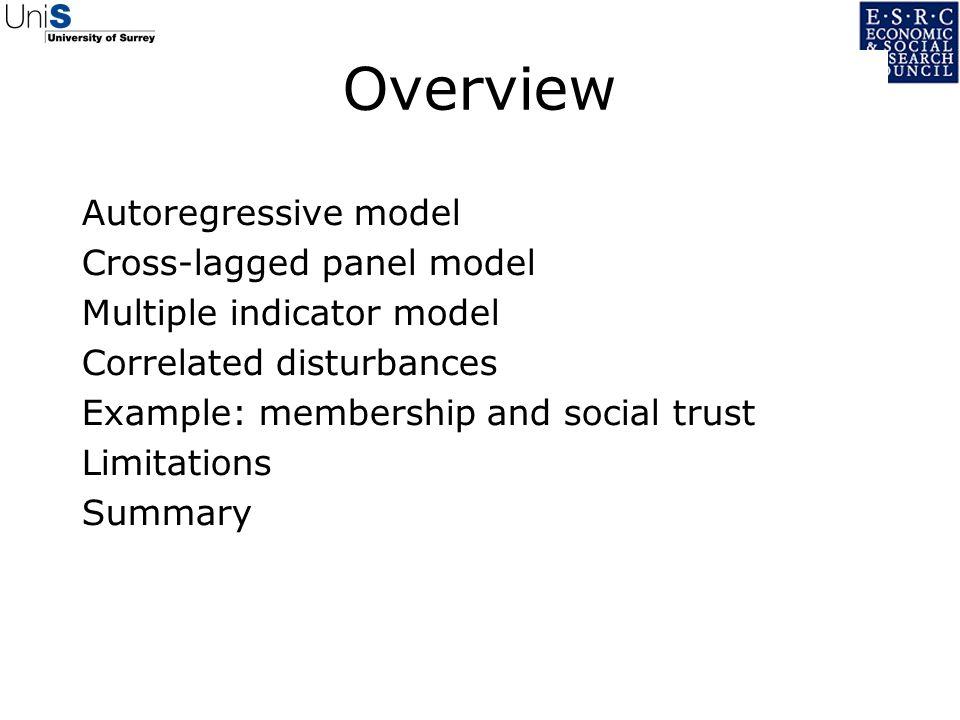 Overview Autoregressive model Cross-lagged panel model