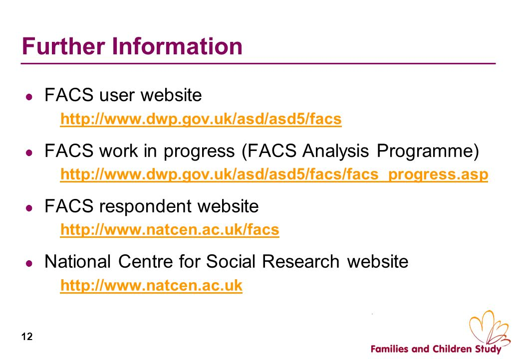 Further Information FACS user website