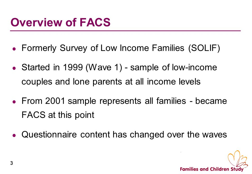 Overview of FACS Formerly Survey of Low Income Families (SOLIF)