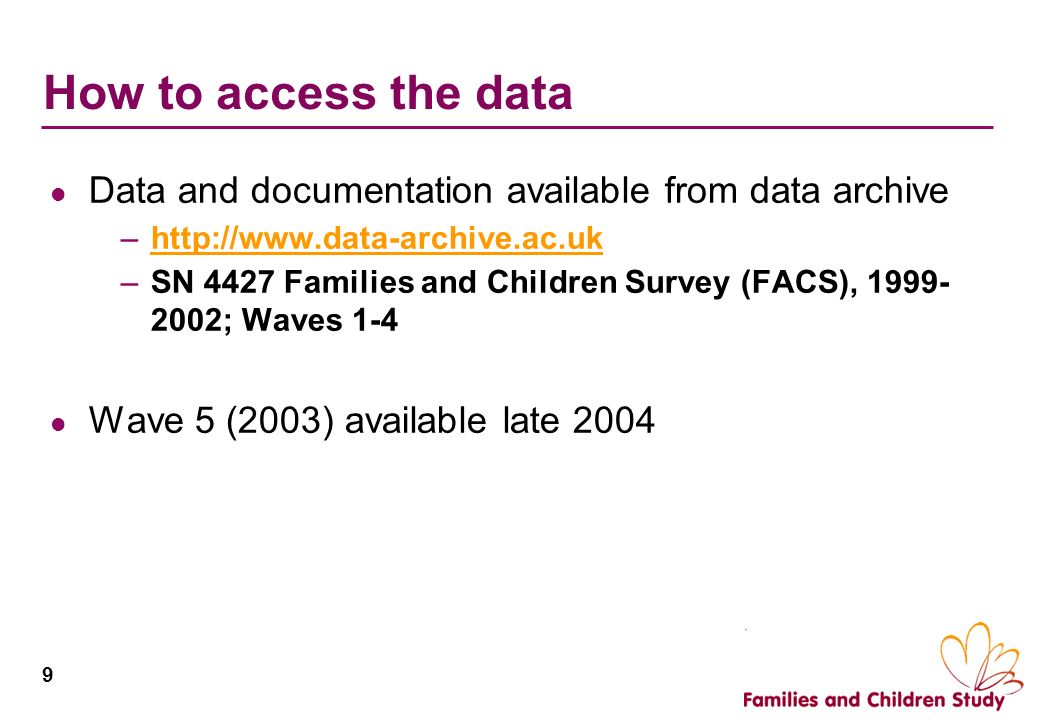 How to access the data Data and documentation available from data archive.