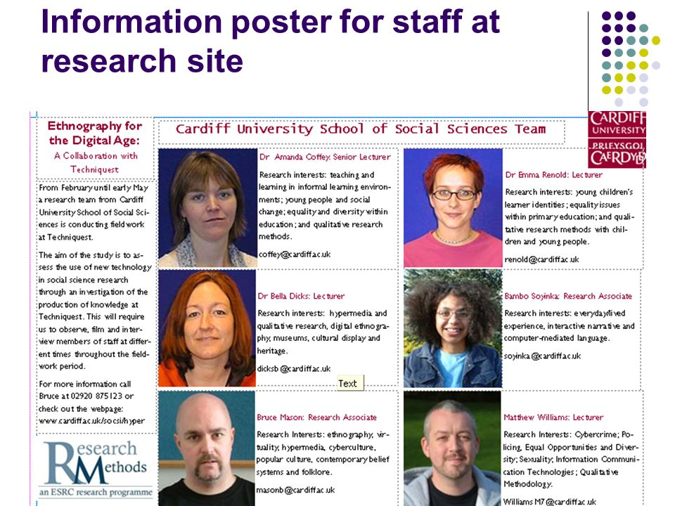 Information poster for staff at research site