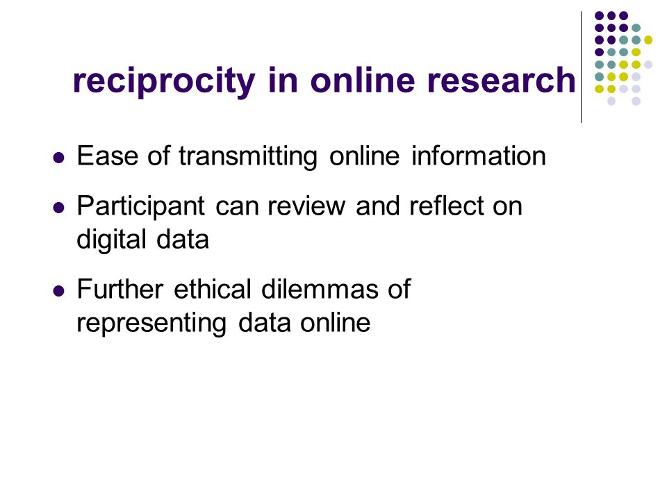 reciprocity in online research