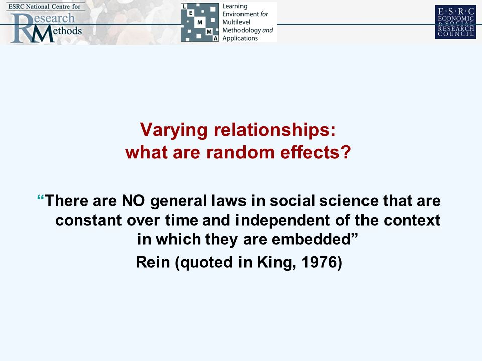Varying relationships: what are random effects