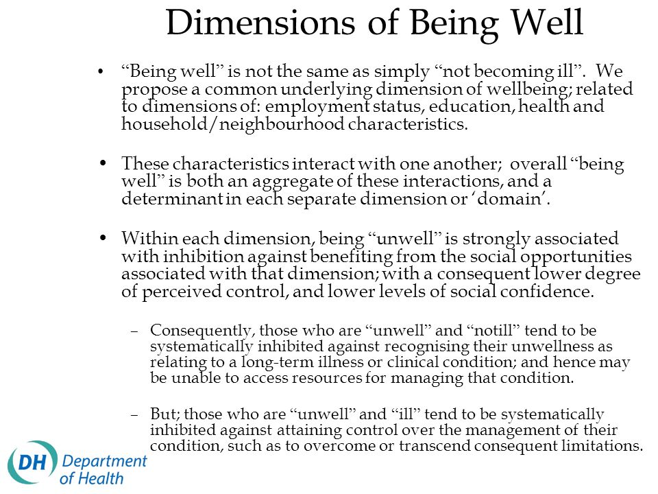 Dimensions of Being Well