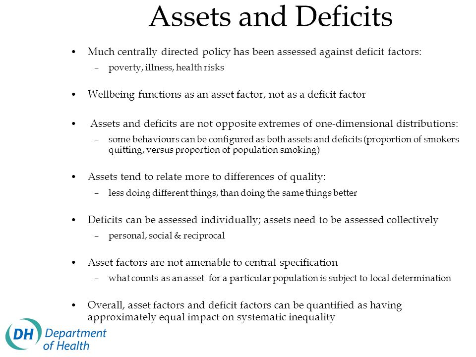 Assets and Deficits Much centrally directed policy has been assessed against deficit factors: poverty, illness, health risks.