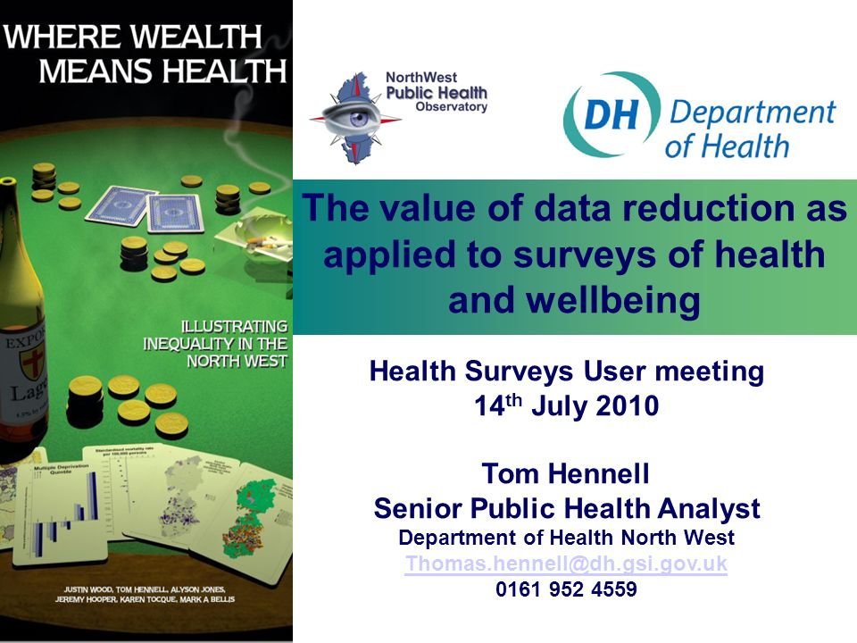 The value of data reduction as applied to surveys of health and wellbeing
