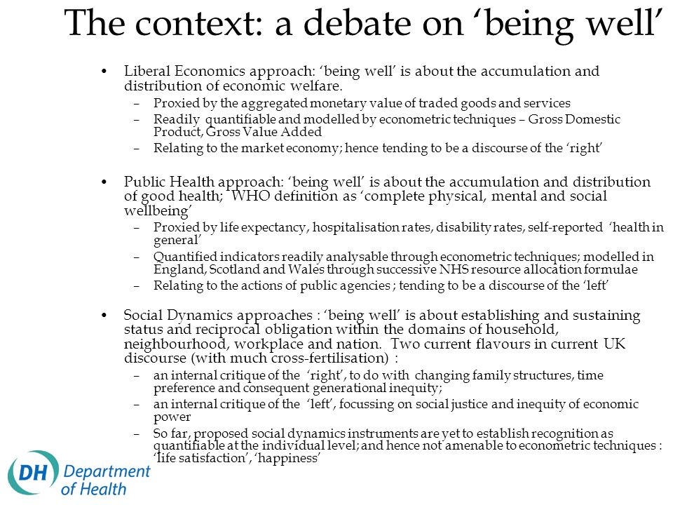 The context: a debate on 'being well'