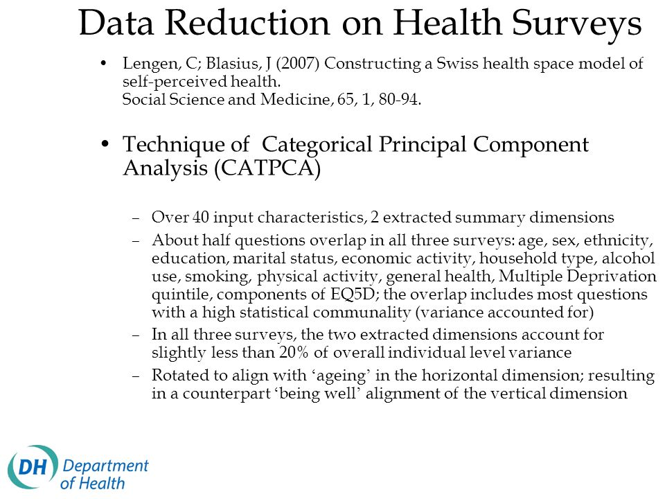 Data Reduction on Health Surveys