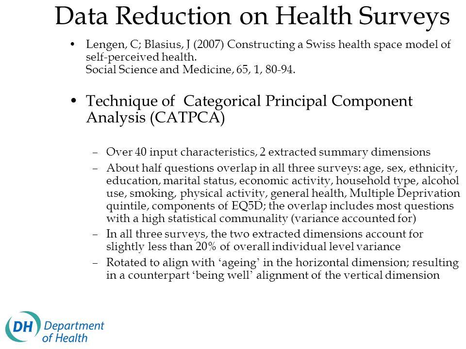 Data Reduction on Health Surveys