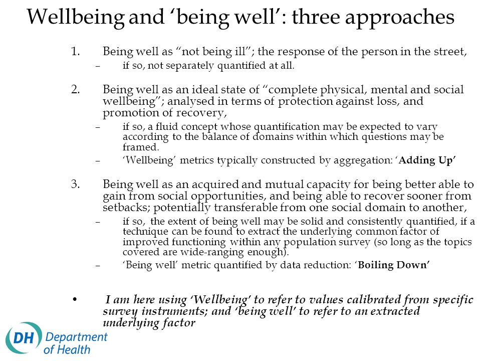 Wellbeing and 'being well': three approaches