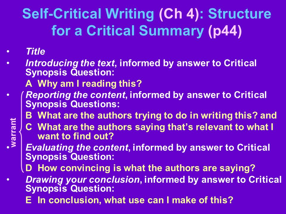 Self-Critical Writing (Ch 4): Structure for a Critical Summary (p44)