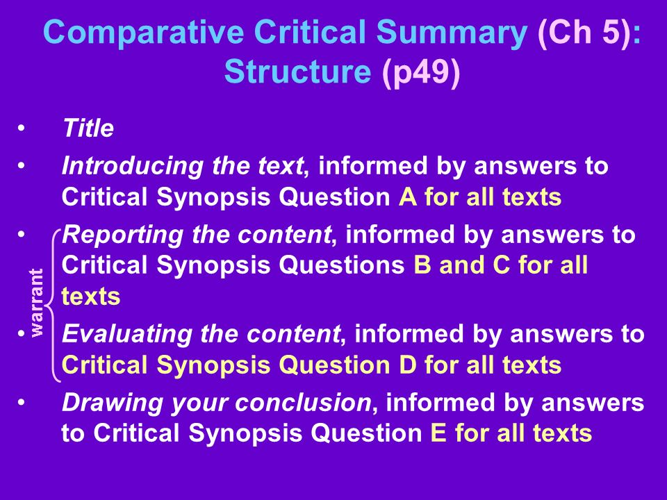Comparative Critical Summary (Ch 5): Structure (p49)