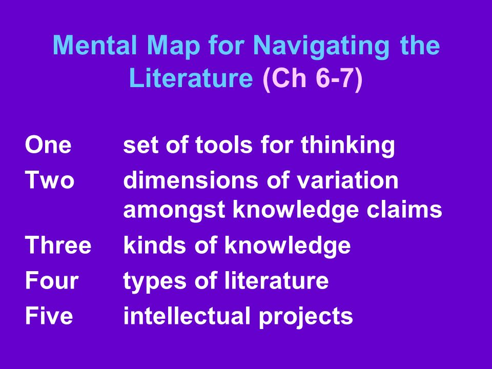 Mental Map for Navigating the Literature (Ch 6-7)
