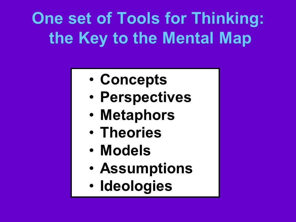 One set of Tools for Thinking: the Key to the Mental Map