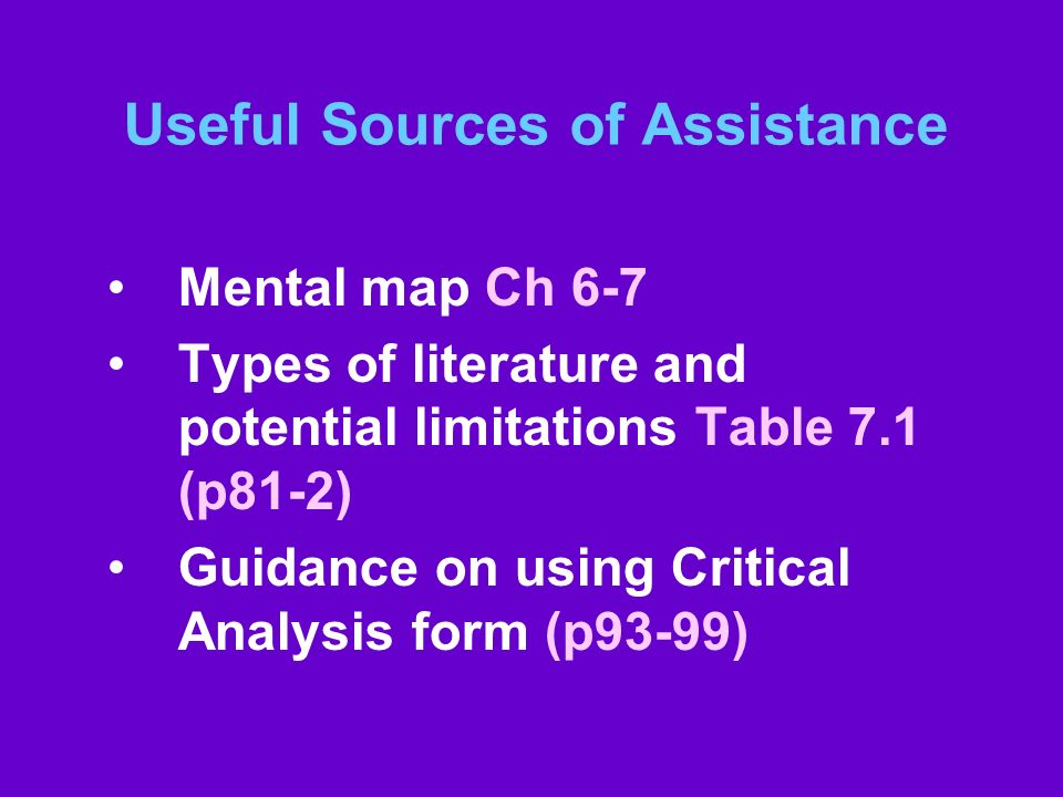 Useful Sources of Assistance