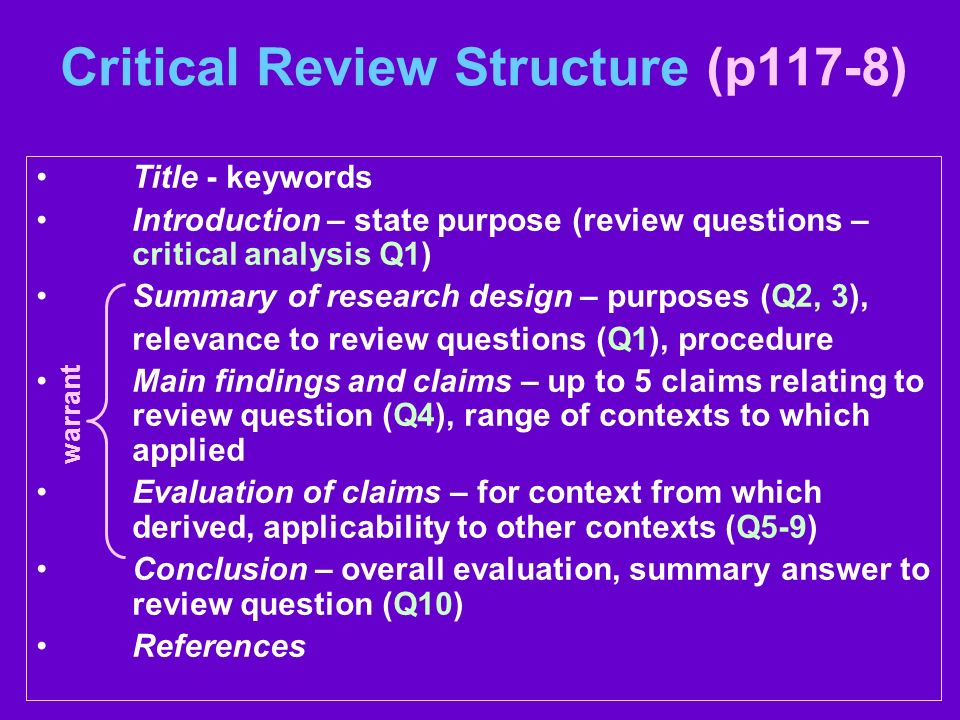 Critical Review Structure (p117-8)