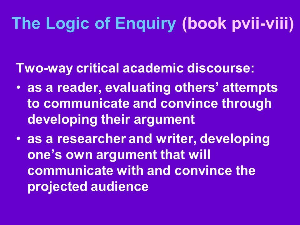 The Logic of Enquiry (book pvii-viii)