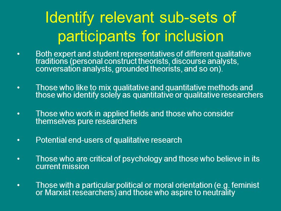 Identify relevant sub-sets of participants for inclusion