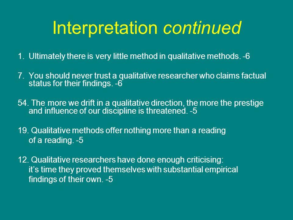 Interpretation continued