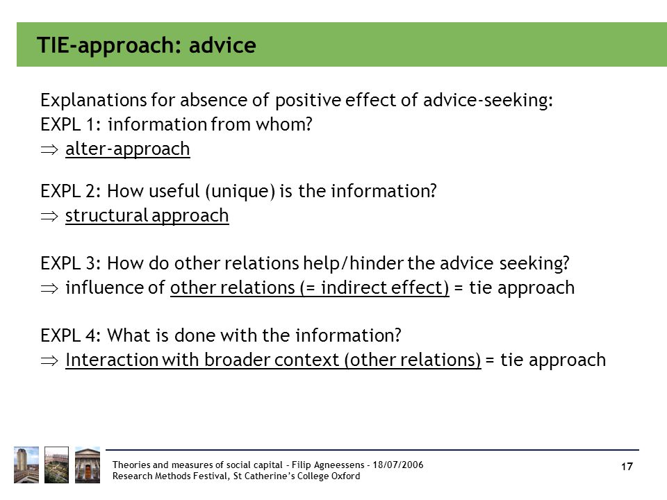 TIE-approach: advice Explanations for absence of positive effect of advice-seeking: EXPL 1: information from whom