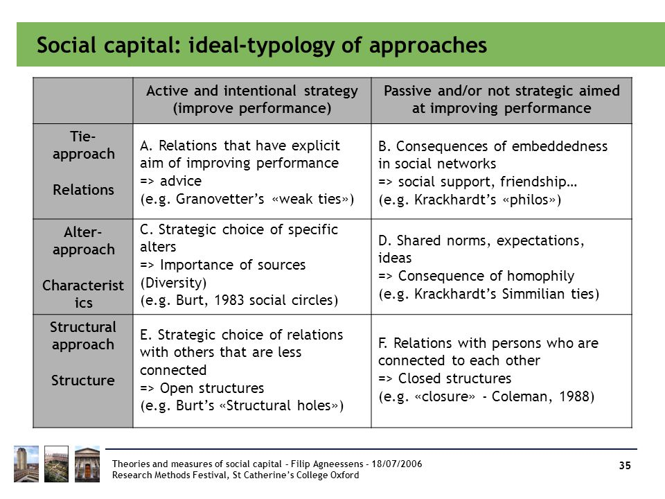Social capital: ideal-typology of approaches
