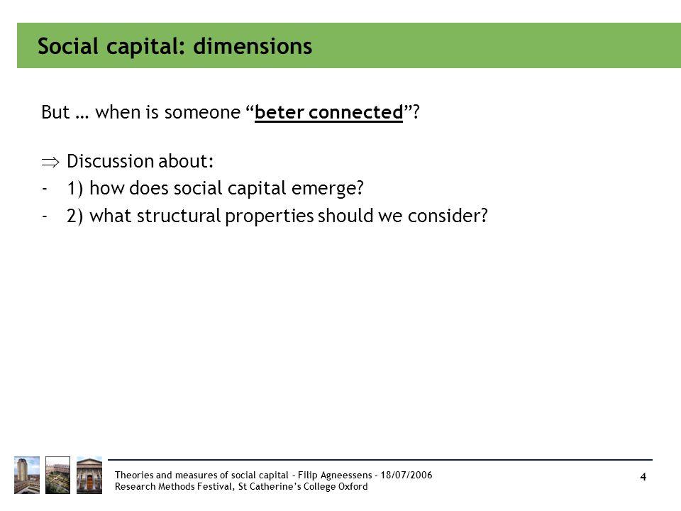 Social capital: dimensions