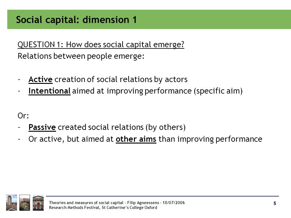 Social capital: dimension 1