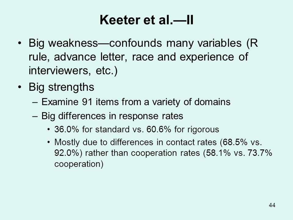 Keeter et al.—III Key result: Differences in estimates Other findings