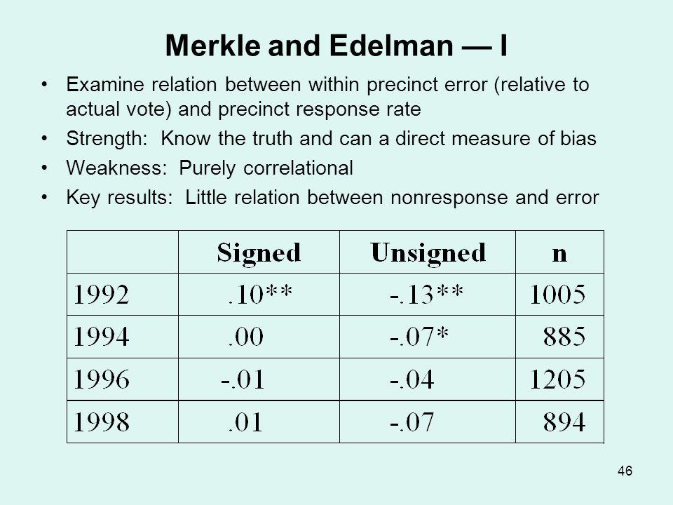 Merkle and Edelman — II