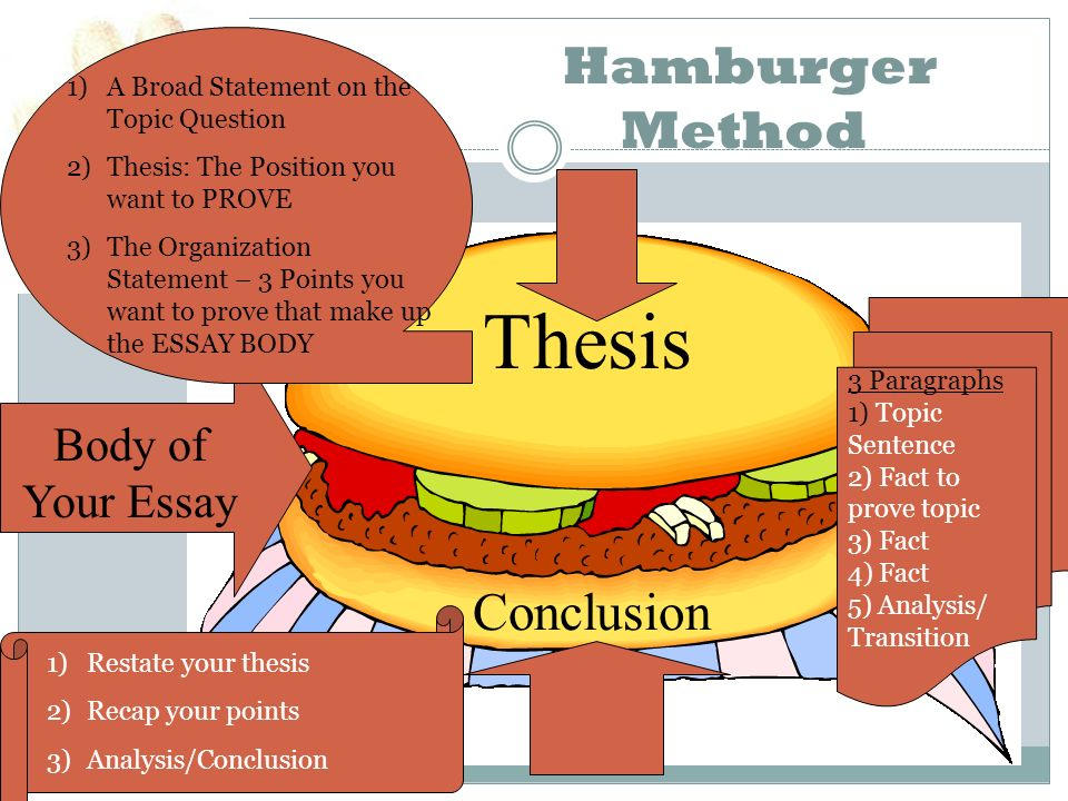 the argumentative persuasive essay ppt video online thesis hamburger method conclusion body of your essay