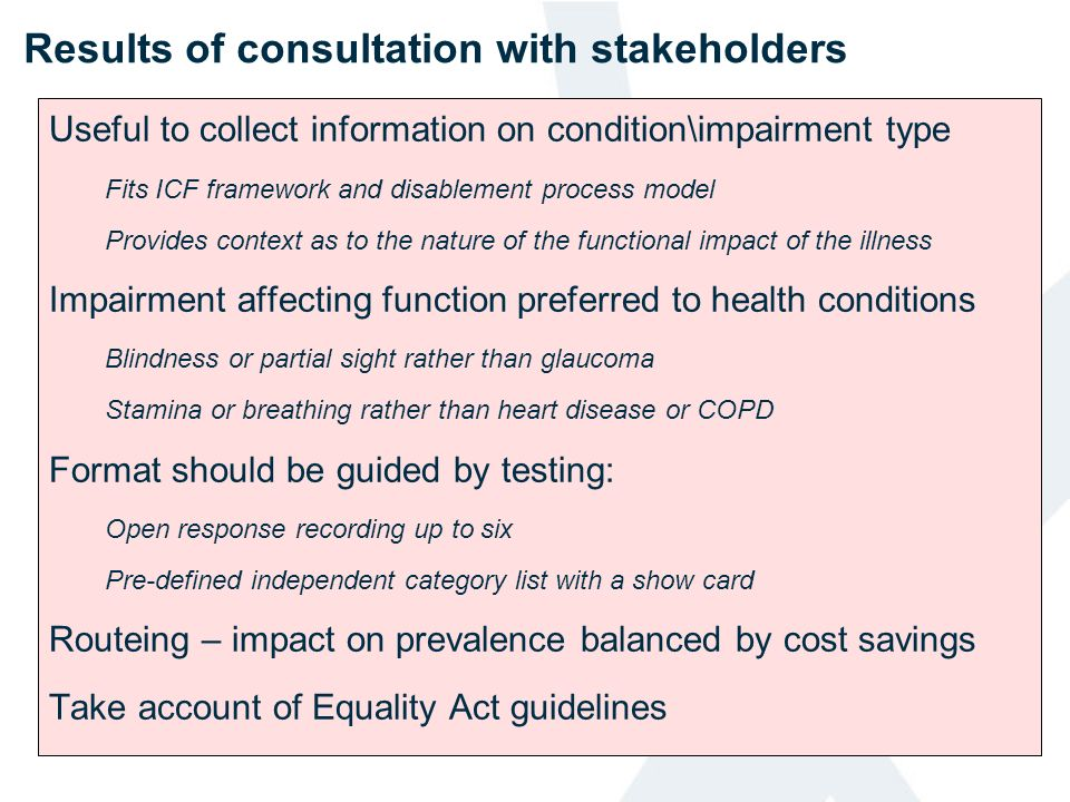 Results of consultation with stakeholders
