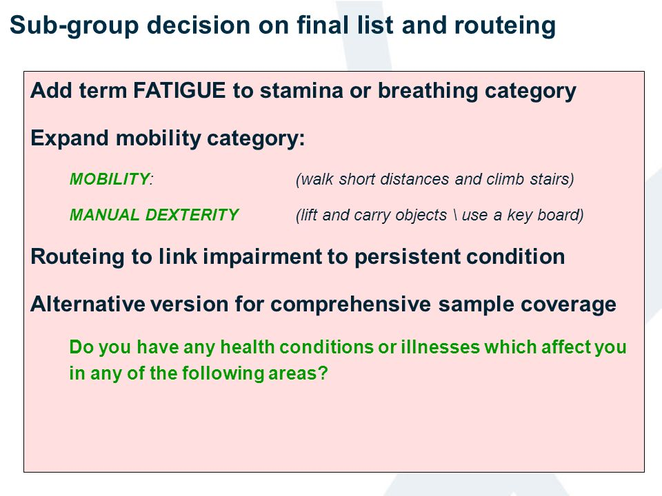 Sub-group decision on final list and routeing
