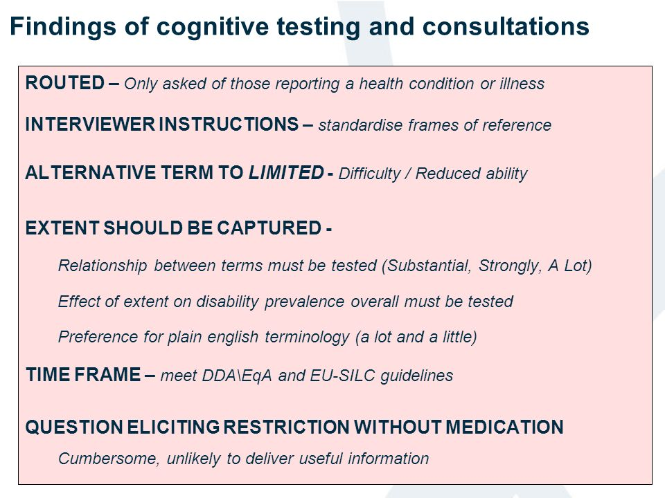 Findings of cognitive testing and consultations