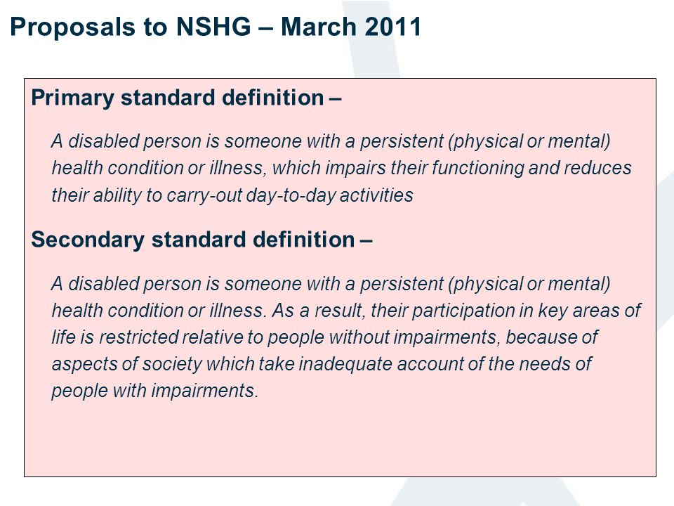 Proposals to NSHG – March 2011