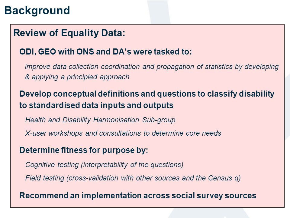 Background Review of Equality Data: