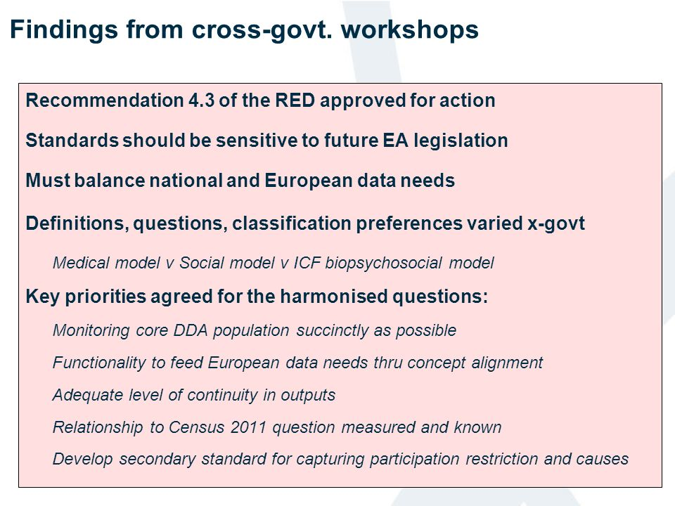 Findings from cross-govt. workshops