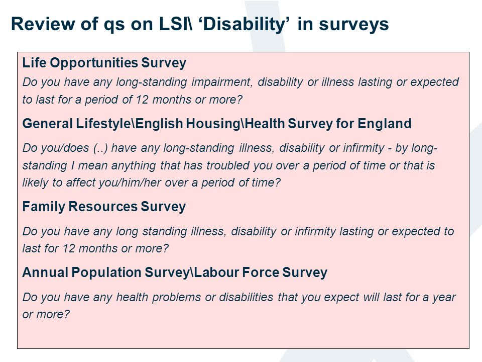 Review of qs on LSI\ 'Disability' in surveys