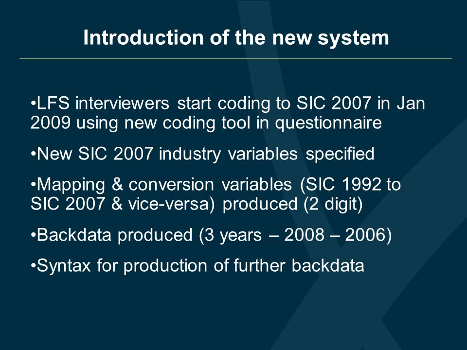 IIntroduction of the new system