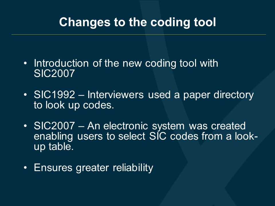 Changes to the coding tool