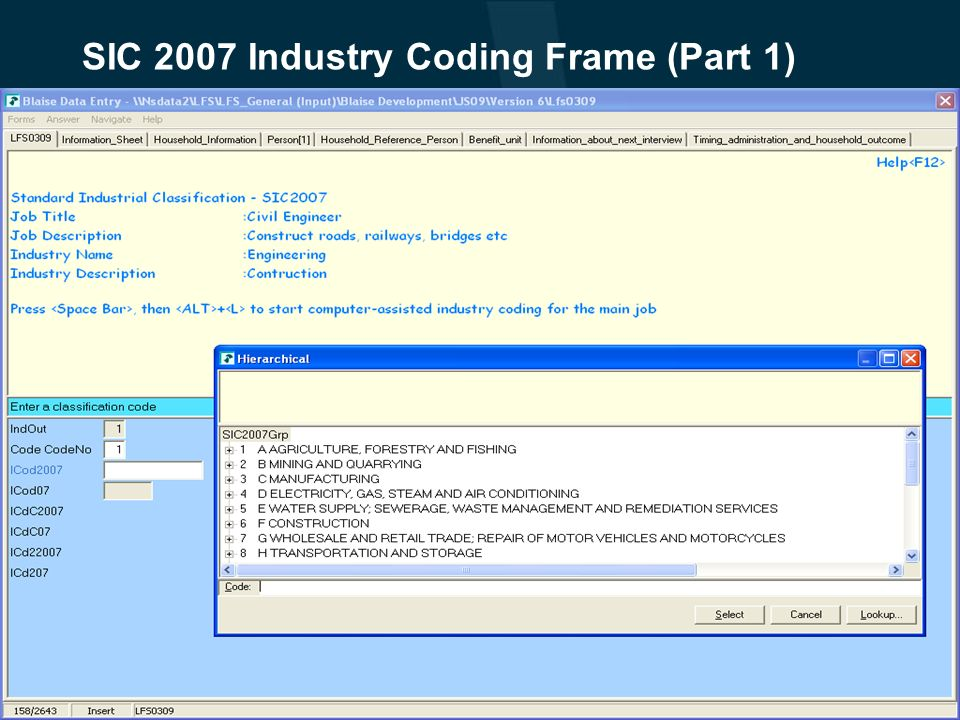 SIC 2007 Industry Coding Frame (Part 1)