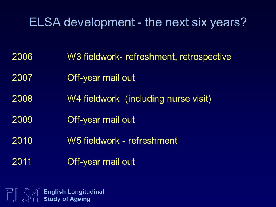 ELSA development - the next six years