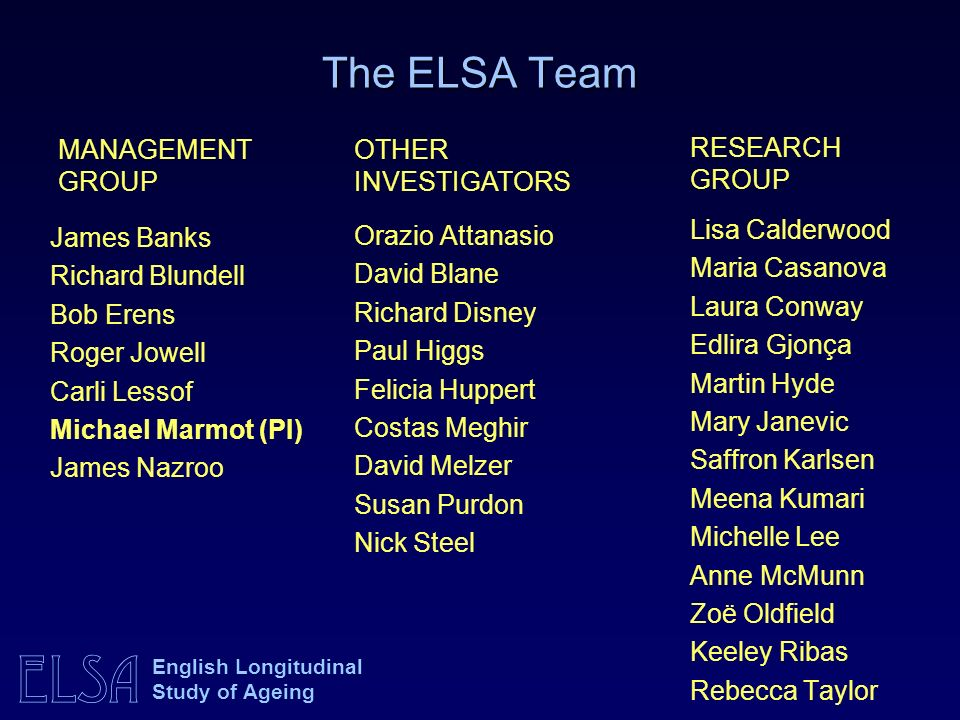 The ELSA Team MANAGEMENT GROUP OTHER INVESTIGATORS RESEARCH GROUP