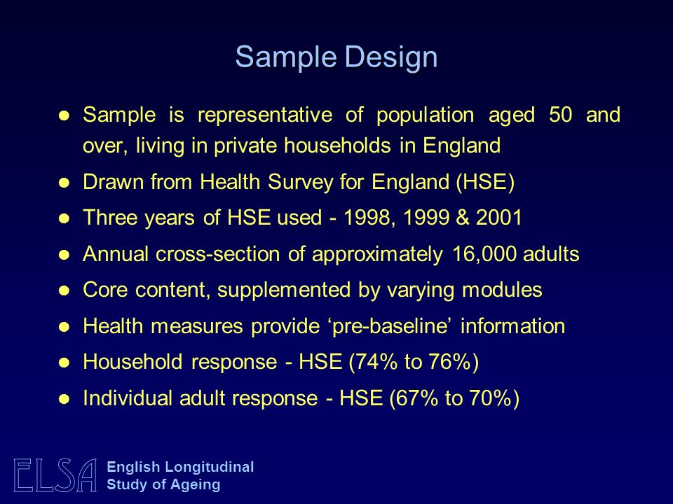 Sample DesignSample is representative of population aged 50 and over, living in private households in England.