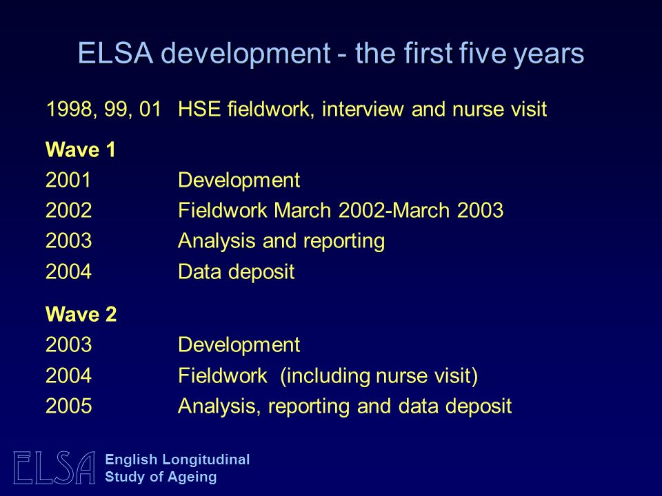 ELSA development - the first five years