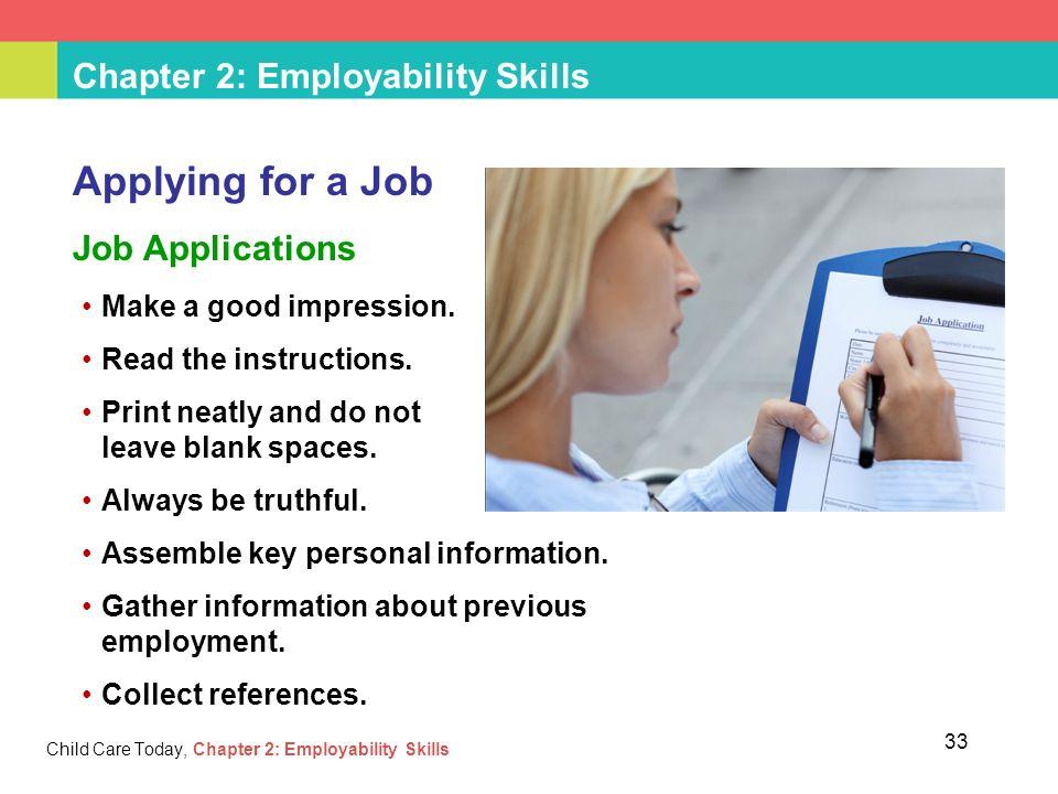 skills when applying for a job