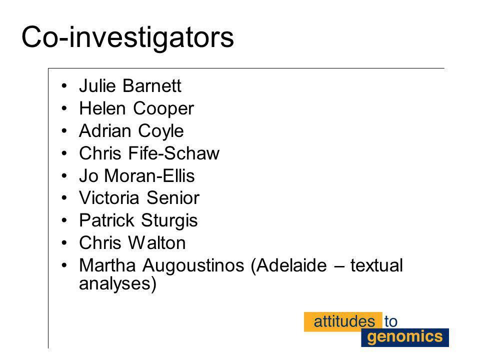 Co-investigators Julie Barnett Helen Cooper Adrian Coyle