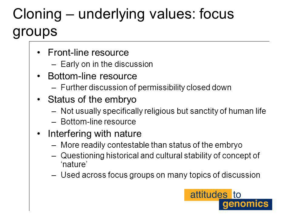 Cloning – underlying values: focus groups
