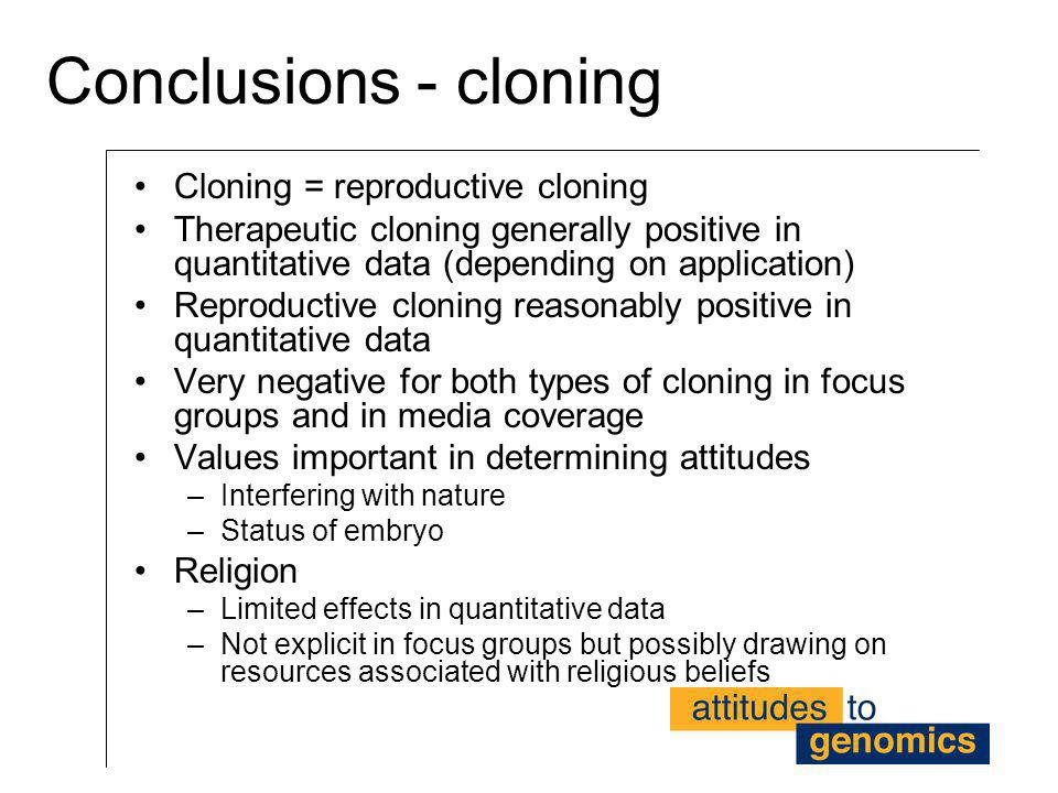 Conclusions - cloning Cloning = reproductive cloning